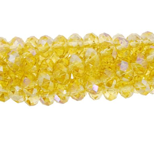 Chinese Crystal Long Rondelle Strand, 6x8mm, AB Lime , about 72 beads