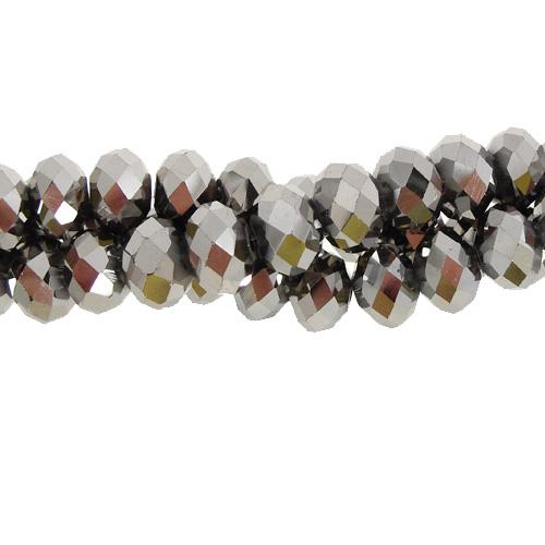 Chinese Crystal Rondelle Strand, 6x8mm, Silver , about 72 beads