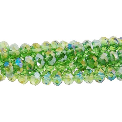 Chinese Crystal Long Rondelle Bead Strand, Fern green AB, 4x6mm, about 100 beads