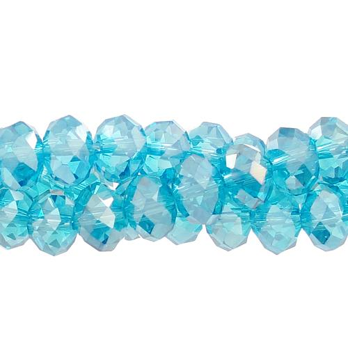 Chinese Crystal Rondelle Bead Strand, Aqua AB, 6x8mm , about 72 beads