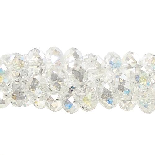Chinese Crystal Rondelle Bead Strand, Clear AB, 8x10mm ,25 beads