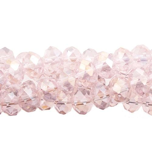 Chinese Crystal Long Rondelle Bead Strand, Lt. Pink AB, 6x8mm , about 72 beads