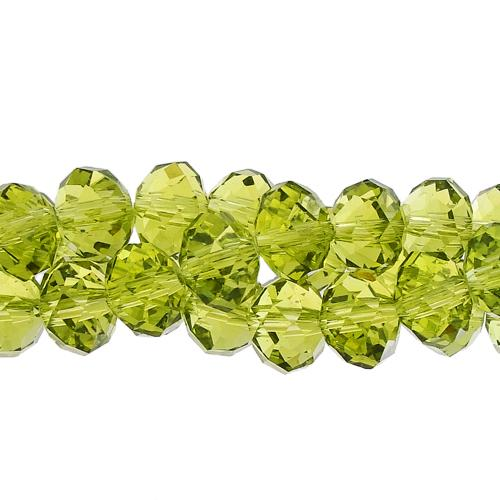 70 pieces 8x10mm Chinese Crystal Rondelle Bead Strand, Olivine