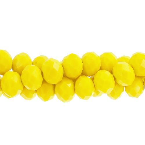 Chinese Crystal Long Rondelle Bead Strand, Opaque Yellow, 4x6 ,about 100 beads