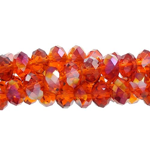 Chinese Crystal Rondelle Long Bead Strand, orange AB, 6x8mm , about 72 beads