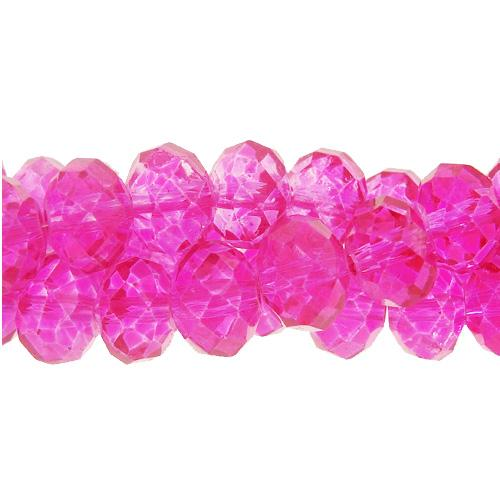 Chinese Crystal Rondelle Bead Strand, Fuchsia,pating color not the glass color, 8x10mm , 25 beads
