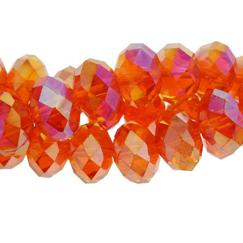 Chinese Crystal Rondelle Bead Strand, Tangerine AB, 9x12mm,about 36 beads