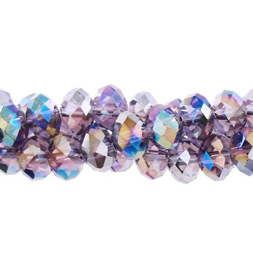 Chinese Crystal Rondelle Beads, violet AB, 6 x 8mm ,about 72 beads