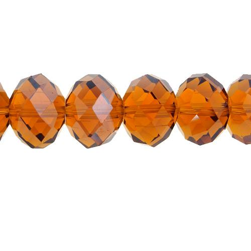 Chinese Crystal Rondelle Bead Strand, Med. Smoked Topaz, 12x16mm ,10 beads