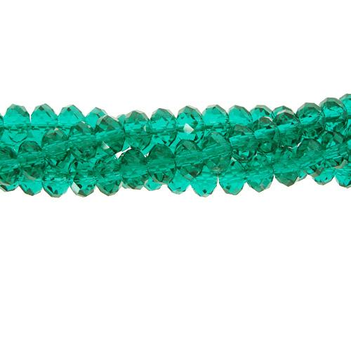 Chinese Crystal Long Rondelle Strand, 3x4mm, Emerald , about 150 beads