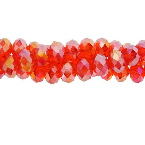 Chinese Crystal Long Rondelle Strand, 4x6mm, Light siam AB , about 100 beads