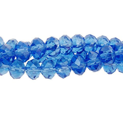 Chinese Crystal Long Rondelle Strand, 4x6mm, med Sapphire , about 100 beads