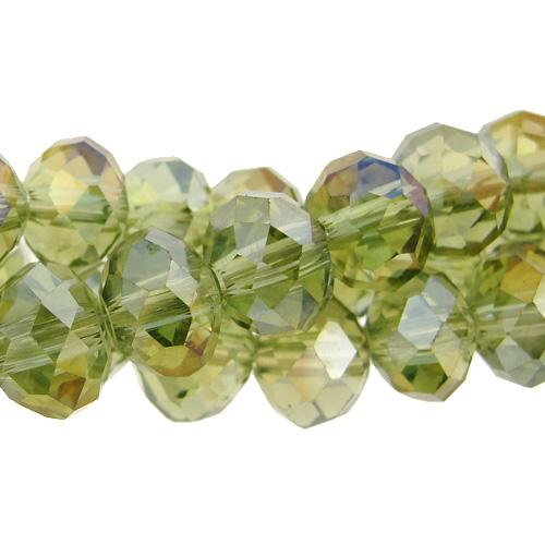 Chinese Crystal Rondelle Bead Strand, Lt. Olivine, 9x12mm, about 36 beads