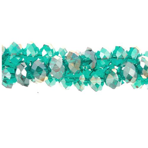 Crystal Rondelle Bead Strand, Emerald AB, 4x6mm , about 100 beads