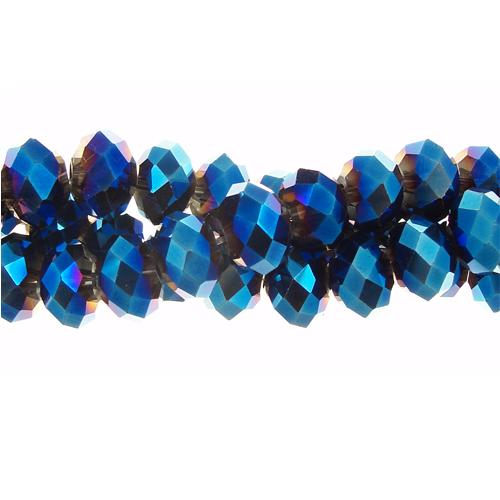 Chinese Crystal Rondelle Bead Strand, Deep Metallic Blue, 6x8mm , about 72 beads