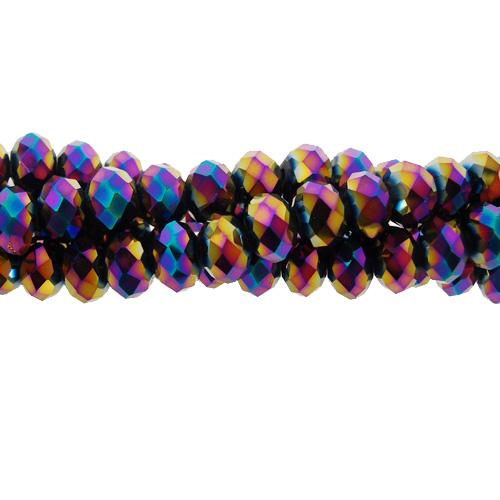 Chinese Crystal Long Rondelle Strand, 3x4mm, Rainbow , about 150 beads