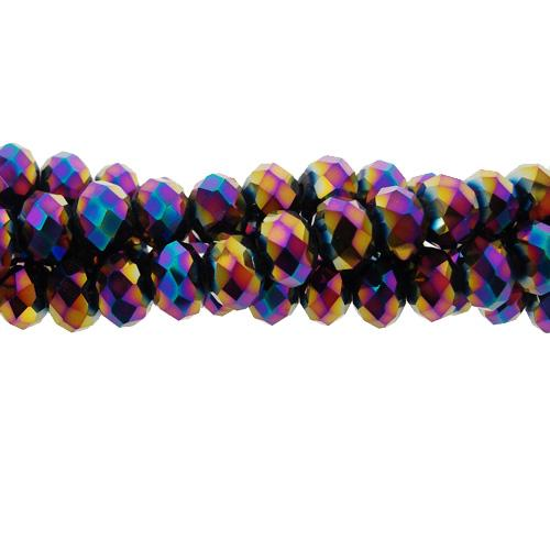 Chinese Crystal Long Rondelle Strand, 4x6mm, Rainbow, about 100 beads