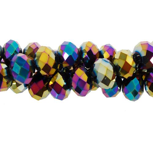 Chinese Crystal Long Rondelle Strand, 6x8mm, Rainbow , about 72 beads
