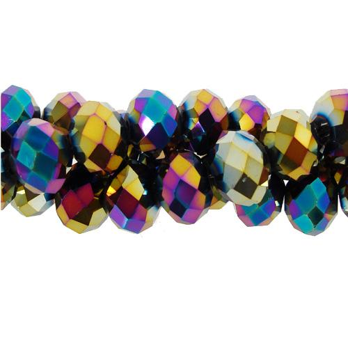 70 pieces 8x10mm Chinese Crystal Rondelle Strand, Rainbow