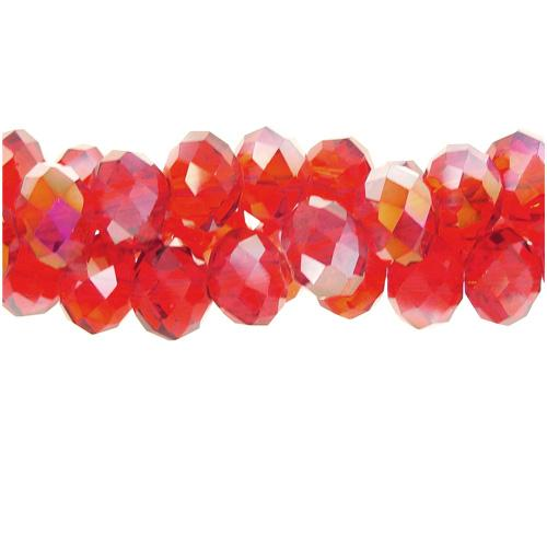 70 pieces 8x10mm Chinese Crystal Rondelle Bead Strand, Siam AB