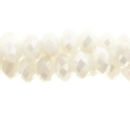 Chinese Crystal Long Rondelle Bead Strand, White Linen, 6x8mm , about 72 beads