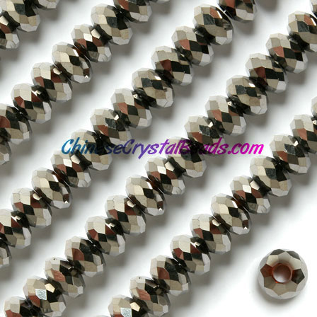 Crystal European Beads, silver , 8x14mm, 5mm big hole,12 beads
