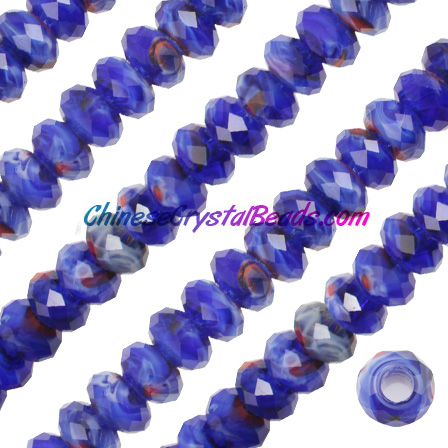 Crystal European Beads,Millefiori Crystal Beads, blue/mixed, 8x14mm, 5mm big hole,12 beads