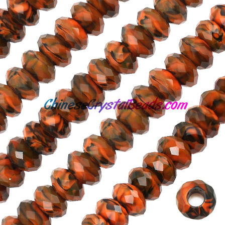 Crystal European Beads, Millefiori Crystal Beads, brown/black, 8x14mm, 5mm big hole,12 beads