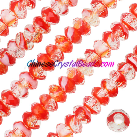 Crystal European Beads, crystal/red , 8x14mm, 5mm big hole,12 beads