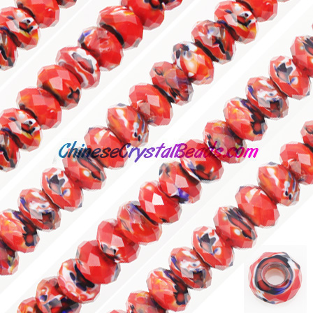 Crystal European Beads, Millefiori Crystal Beads, red mixed , 8x14mm, 5mm big hole,12 beads