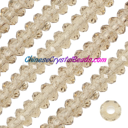 Crystal European Beads, S.Champagne , 8x14mm, 5mm big hole,12 beads