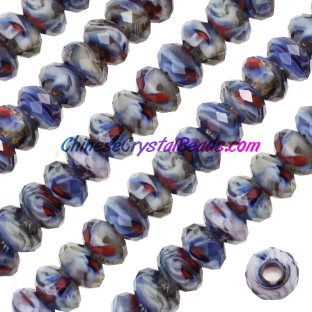 Crystal European Beads, Millefiori Crystal Beads, white mixed, 8x14mm, 5mm big hole,12 beads