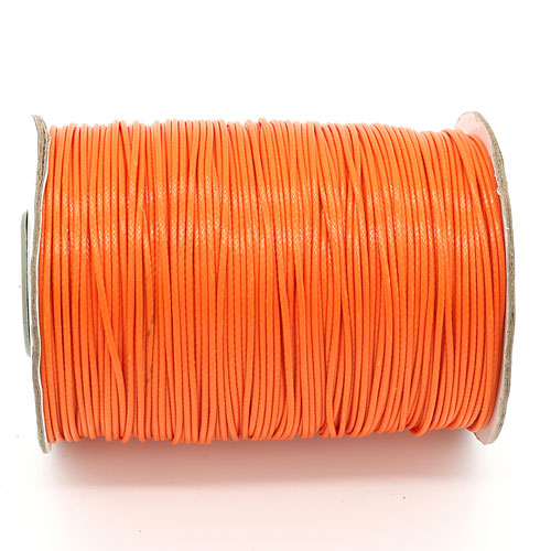 1mm, 1.5mm, 2mm Round Waxed Polyester Cord Thread, orange red