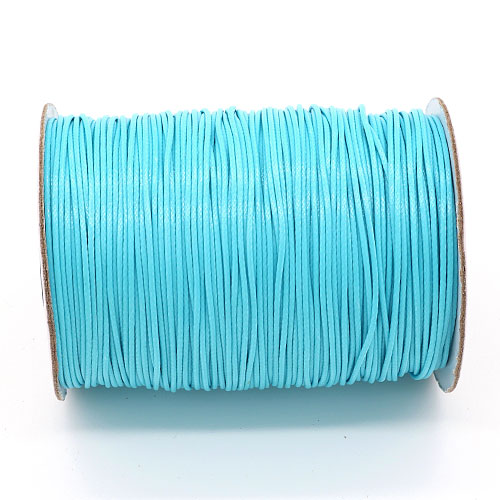 1mm, 1.5mm, 2mm Round Waxed Polyester Cord Thread, light aqua