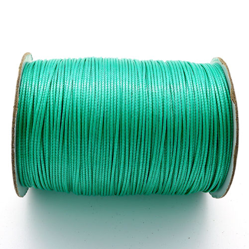 1mm, 1.5mm, 2mm Round Waxed Polyester Cord Thread, light sea green