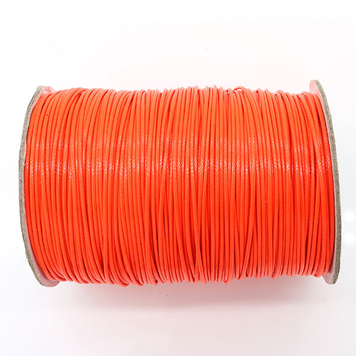 1mm, 1.5mm, 2mm Round Waxed Polyester Cord Thread, neon orange