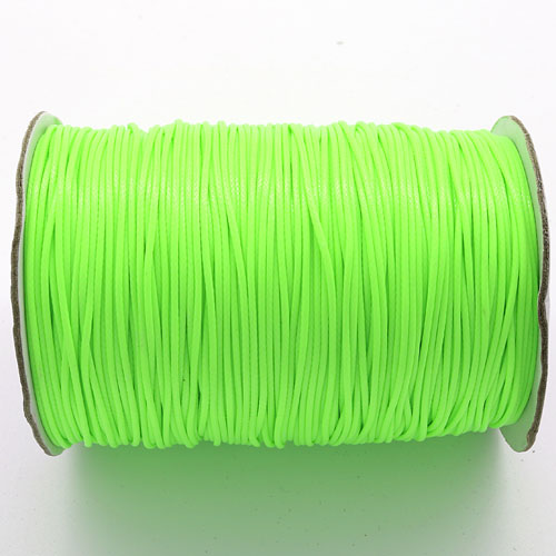 1mm, 1.5mm, 2mm Round Waxed Polyester Cord Thread, neon yellow