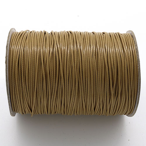 1mm, 1.5mm, 2mm Round Waxed Polyester Cord Thread, lt brown